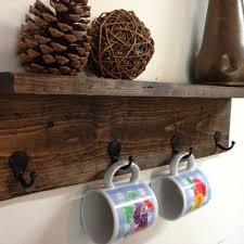 Rustic Wood Wall Mug Rack With Shelf Distressed Coat Hooks