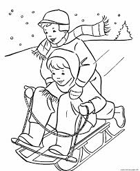 Kids Playing Sled In The Winter S6625 Coloring Pages