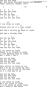 Bob Dylan song e for the Road lyrics and chords