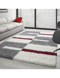 hochflor langflor wohnzimmer shaggy teppich florhöhe 3cm grau weiss rot