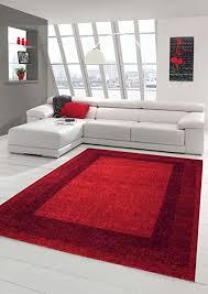 traum designer teppich moderner teppich wohnzimmer teppich velours kurzflor teppich mit winchester bordüre in rot größe 120x170 cm