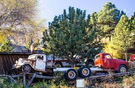 100 Vintage Trucks Two On Ramps In Salvage Yard Stock Photo Picture And