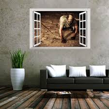 Creative 3D Fake Windows Wall Stickers Halloween Crawling Zombie Living Room Bedroom Decoration Supplies