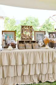 Candy Favor Table At A Chalk Chalkboard And Burlap Themed Baptism Luncheon Party Via Kara