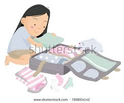 Vector Cartoon Illustration Of Young Girl Getting Ready To Travel And Packing Clothes In A Suitcase
