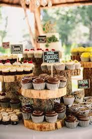 Tree Stump Cake Stand Flavored Cupcakes Wedding Dessert Ideas