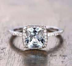 Cushion Aquamarine Engagement Ring Pave Diamond Wedding 14K White