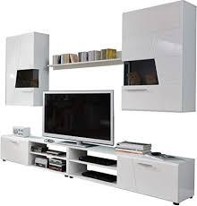 trendteam smart living wohnzimmer anbauwand wohnwand wohnzimmerschrank move 239 x 186 x 40 cm in korpus weiß front weiß glanz tiefzieh glas