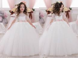 2017 Cheap White Christmas Flower Girl Dresses Short Sleeve Lace