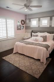 Home Decor Furniture Bedroom Decoration Glorious Gray Wing Tufted Headboard And Pink Covering Bed Queen Size With Sweet White Horizontal Blind In Girls