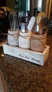 Mason Jar Table Decor Kitchen Rustic Utensil Holder