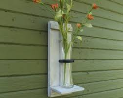 Rustic Wall Vase Sconce Wood