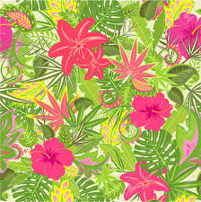 Summery Tropical Wallpaper With Colorful Leaves And Flowers Stock Vector