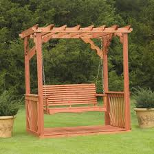 Exterior Brown Wooden Swing Canopy Frame With Chain And Wooden