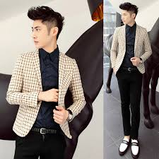 2014 Autumn Modern Slim Blazer Mens Clothing All Match Plaid Male Civies Single Pea Coat Men Casual Suit Jackets M