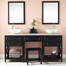 Master Bathroom Vanity With Makeup Area by Glympton Vessel Sink Double Vanity With Makeup Area Black Bathroom