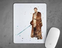 wars obi wan kenobi maus pad aquarell mousepad kunstdruck dekor geschenk maus matte starwars