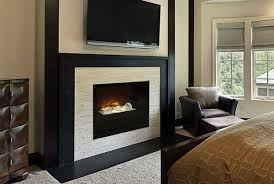 Amantii 51 Electric Fireplace With Concrete Surrounds Within Flush Mount Renovation Living Room