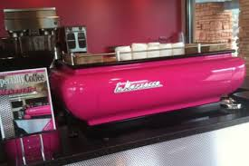 The Cafe Design Resembles Beautiful Red Rock Surroundings But Its Most Eye Catching Feature Is Undoubtedly Pink Espresso Machine