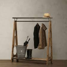 American Creative Wood Shelf Clothing Display Rack Iron Wall Floor