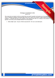 Free Printable Mortgage mitment Letter Form GENERIC