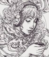 Morning Coffee In Bali Sketch Lineart Illustration Arttravel Drawings