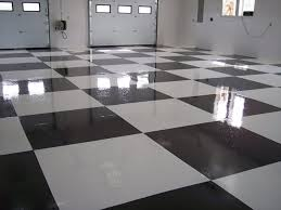 Commercial Auto Garage Custom Checkered Floors Black White Epoxy Seamless 3 Concrete Flooring