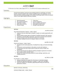CV Templates For Marketing