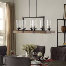 The Gray Barn Vineyard Metal And Wood 6 Light Chandelier With Seeded Glass Shades