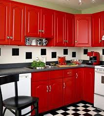 KitchenChess Floors Kitchen Decor With Red Cabinets And Cupboards White Oven In