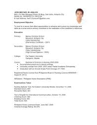 Resume Example Filipino Simple Job Application Letter Sample Resumes In Applicant 4119