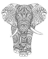 Free Background Coloring Complex Elephant Pages For Adults Difficult Elephants