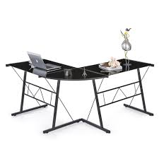 bureau angle noir bureau d angle en verre trempé noir interougehome