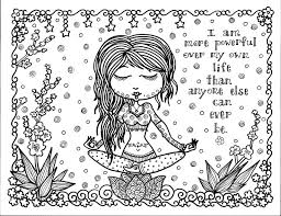 Free Coloring Page Adult Positive Thought I Am More Powerful