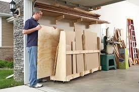 sheet goods rack cutoff station woodworking plan from wood magazine
