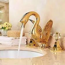 goldenes waschbecken swan style breites badezimmer
