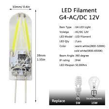 new ac dc 12v g4 filament cob led light bulb 5w 8w for spotlight
