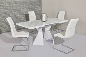 100 White Gloss Extending Dining Table And Chairs Roselle High