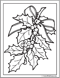 Christmas Holly Coloring Picture