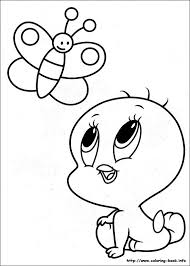 Baby Looney Tunes See Butterflies Fly Coloring Pages For Kids Printable