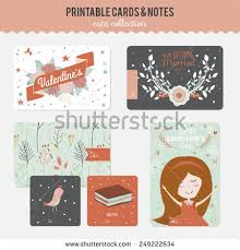 Romantic And Love Cards Notes Stickers Labels Tags With Cute Print Illustrations