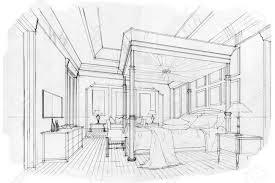 skizze streifen schlafzimmer schwarz weiß interieur