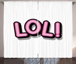 gardine schlafzimmer kräuselband vorhang mit schlaufen und haken abakuhaus lol retro letters vintage pop kaufen otto
