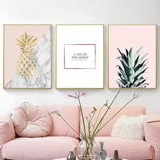 nordic dekoration rosa basierend wandmalerei gold ananas kunst poster niedliche leinwand malerei wandbilder für wohnkultur