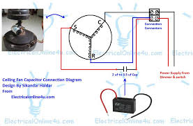 Hunter Ceiling Fan Wiring Schematic by Ceiling Fan Capacitor Wiring Connection Diagram Electrical Online 4u