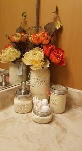 Mason Jars Bathroom Set Of 4 Vanilla Cream Farmhouse Decor Soap Dispenser Toothbrush Holder Rustic Western Home