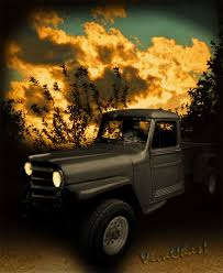 Willys Jeep Pickup Truck Sunset Rat Rod Hot Rod 4x4