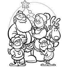 Santa Family Selebrating Christmas Coloring Page
