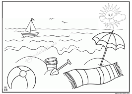 Summer Sun Beach Coloring Pages