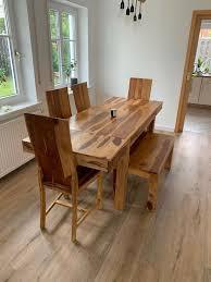 esszimmer tisch stühle bank palisander massivholz sheesham